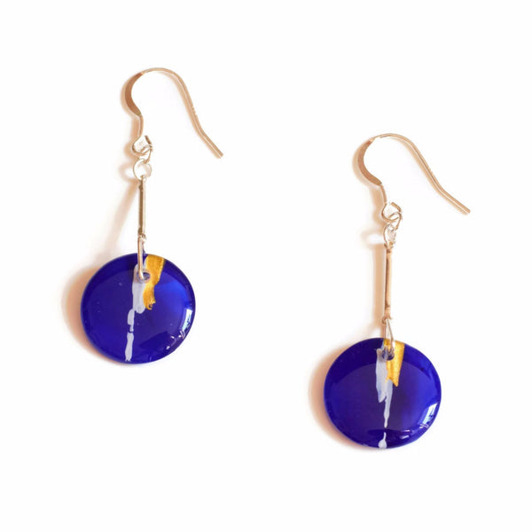 Round Blue Drop Earrings