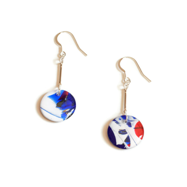 Red, white and blue graffiti drop earrings