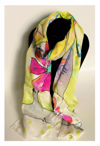 Parrot Handpainted Silk Scarf