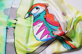 Hand painted silk scarf with parrot design