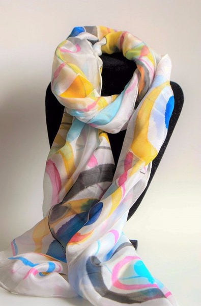 Hand painted abstract silk scarf