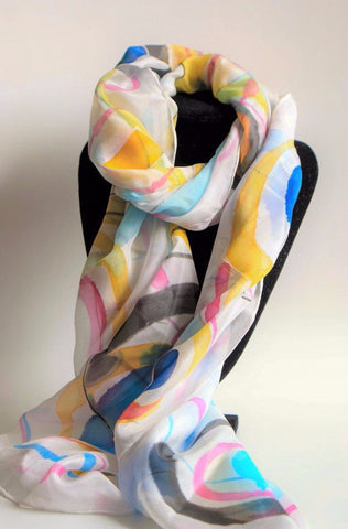 Abstract hand painted silk scarf in delicate colours