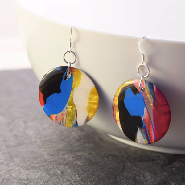 Round abstract art earrings
