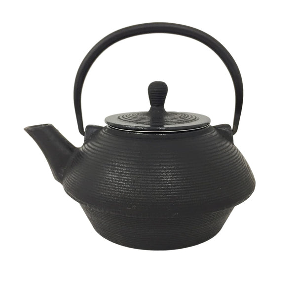 Black Ribbed Cast Iron Teapot
