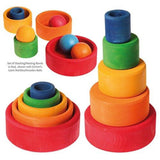 Grimm's Set of Coloured Bowls (Outside Red) | Toys Tribe Pte Ltd