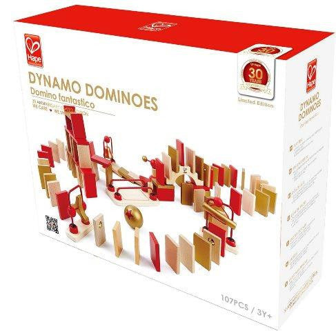 ToysTribe - For Rent: Hape Dynamo Dominoes (Red/Gold), 100 pieces
