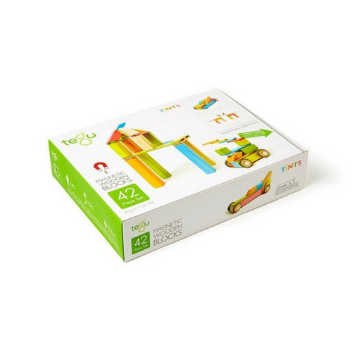 Tegu Magnetic Wooden Block Set (Tints), 42 pieces | Toys Tribe Pte Ltd