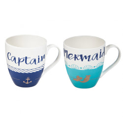 Captain and Mermaid Ceramic Cups O' Java, Gift Set of 2