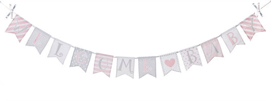 Welcome Baby, Canvas Wall Banner-Pink