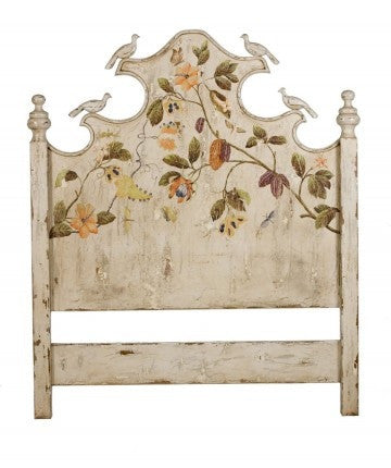 Queen Headboard with Carved Birds