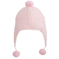 Pink Cable Knit Aviator Hat