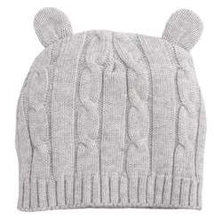 Gray Cable Hat with Ears