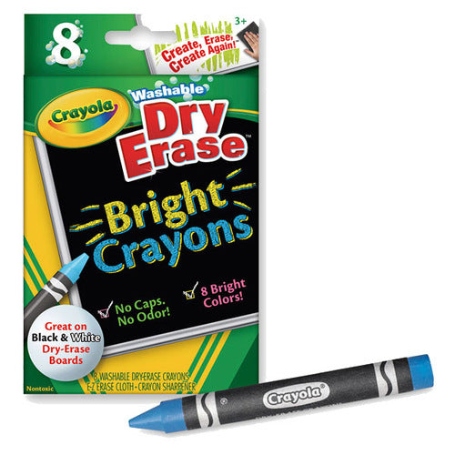 Crayola Dry Erase Crayons Brights- Set of 8