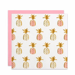 PINEAPPLE PINK AND GOLD FOIL COCKTAIL NAPKINS