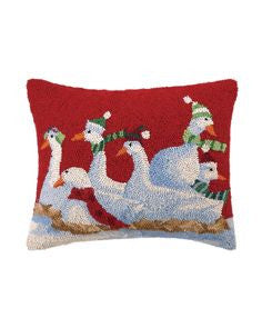 Six Geese a Laying Hooked Holiday Pillow