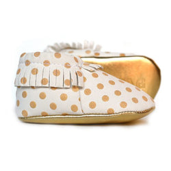 Gold Rush White and Gold Baby Moccasins