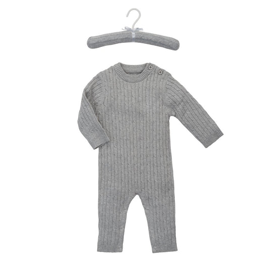 Gray Baby Cable Knit Jumpsuit