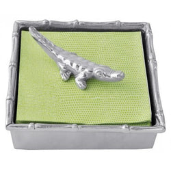 Green Alligator Bamboo Napkin Box