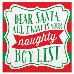 Naughty Boy List Cocktail Napkins