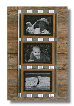 Reclaimed Wood Triple Picture Frame with Silver