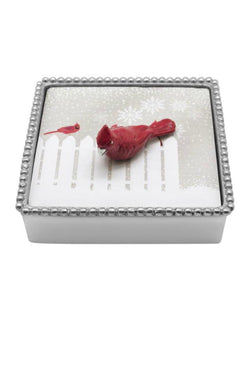 Red Cardinal Beaded Napkin Box