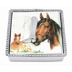 Riding Boot Beaded Napkin Box