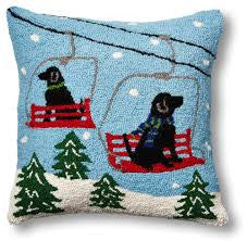 Ski Lift Dogs Hook Pillow