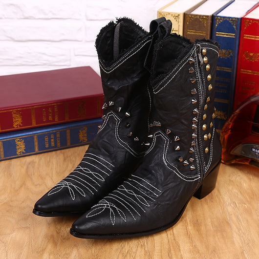 Pointed Toe Studded Steampunk Boots