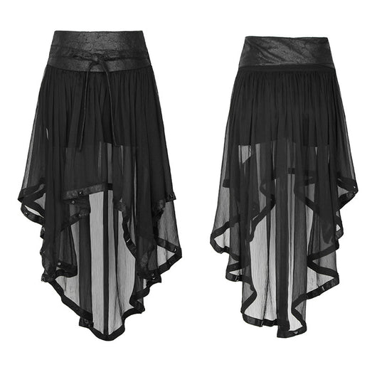 Black Chiffon Steampunk Skirt