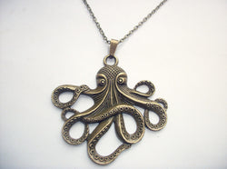 Ancient Bronze Octopus Steampunk Necklace