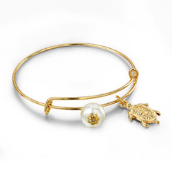 Gold Turtle Adjustable Pearl Bracelet