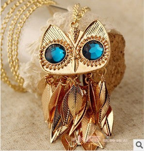Beautiful New High Quality Owl Necklace with long chain