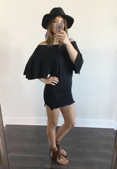 Off shoulder tunic dress with fringe details