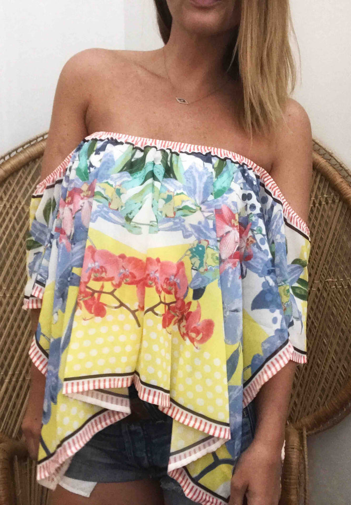 Alex Off Shoulder Piece Print Top