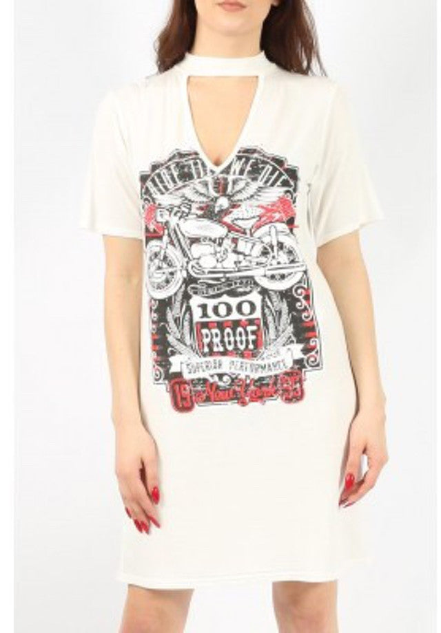 """Ride Till We Die"" Shirt Dress with Chocker"