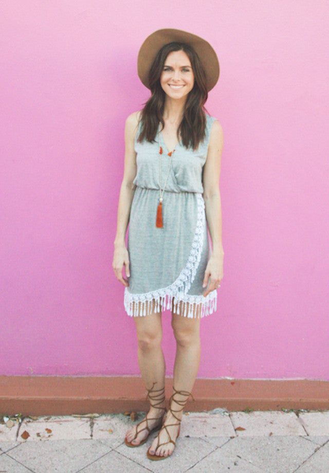 Dream catcher dress in gray with white tassel details.
