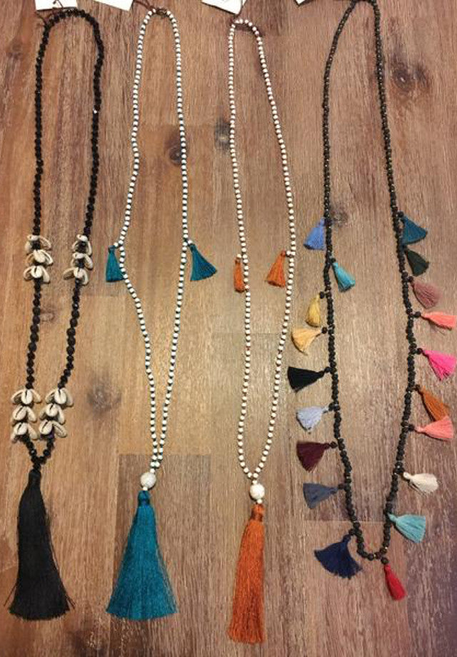 Handmade tassel necklaces from Bali