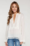 Cotton and Eyelet Long Sleeve Top