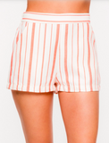 Tomato red and cream striped shorts with pockets.