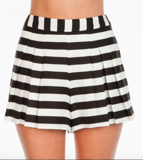 Black and white striped shorts with pleated front.