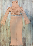 Camel Rib Knit Crop Top with High Neck and Wrap Around Belt