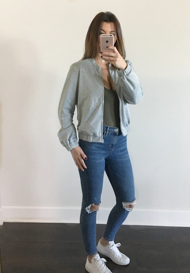 Bomer jacket in grey is the perfect accessory to throw over a casual outfit. It has functional front pockets, a front metal zipper, elasticated cuffs, a box pleat to centre back and is fully lined inside.