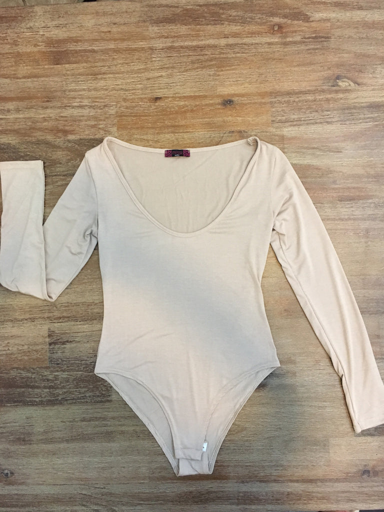 Scooped neck long-sleeve bodysuit