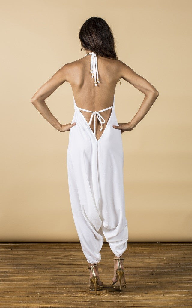 GENIE JUMPSUIT IN WHITE  by Dancing Leopard