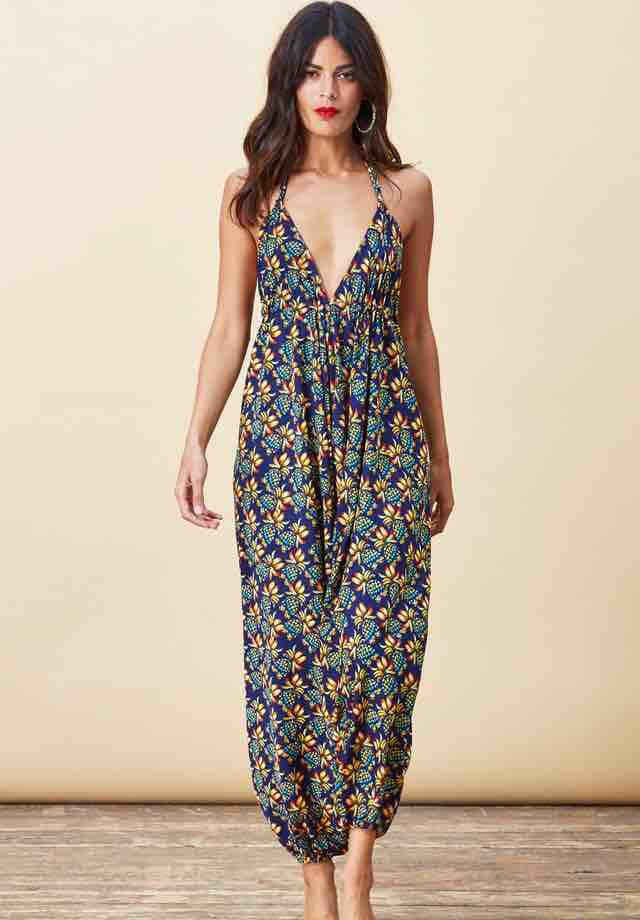 Loose fitting jumpsuit with harem pants and low 'v' to neckline and back. Soft, comfortable fabric perfect for summer days, festivals, holidays or simply lounging around feeling elegant. The bust area is fully adjustable and ties at the neck and back by drawstring so you can fit to flatter your personal size.
