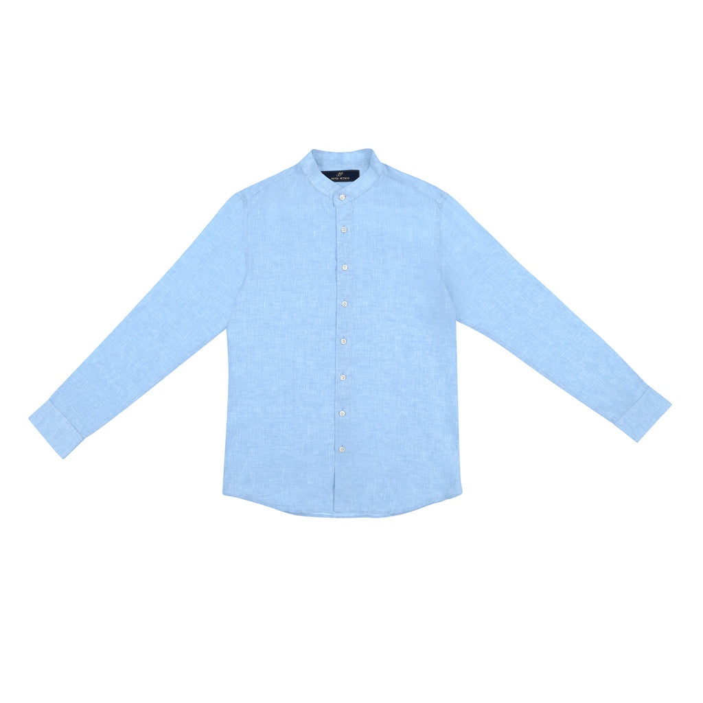 Male Linen Shirt - Blue