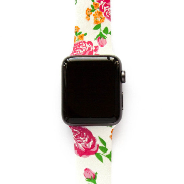 Fuchsia Rose on White - Watch Band - FSX Labs