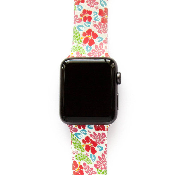 Hawaiian Red Pink Blue Flowers - Watch Band - FSX Labs