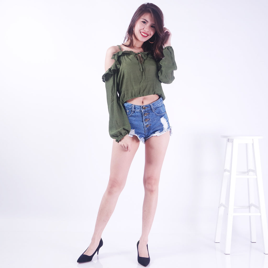 a2629f363d INKA DROP SHOULDERS BEACH CROPPED TOP IN OLIVE – POSACollective