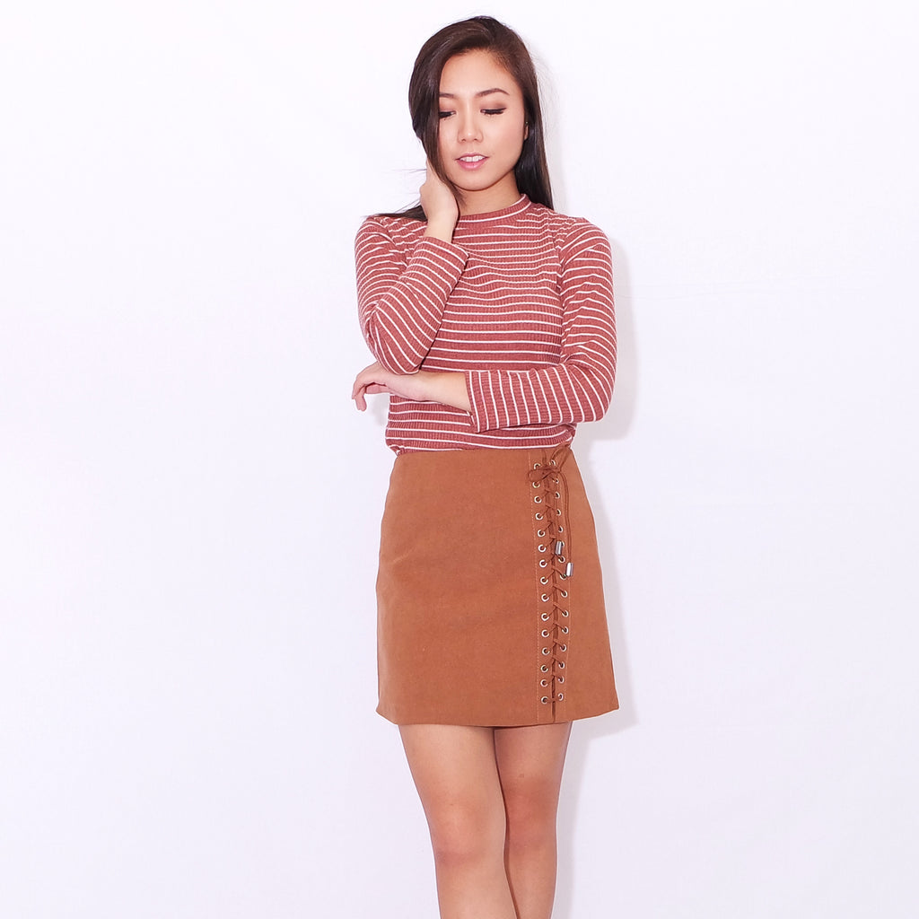 2e5a0925f1 RUMI LACE-UP SKIRT IN rusty camel – POSACollective